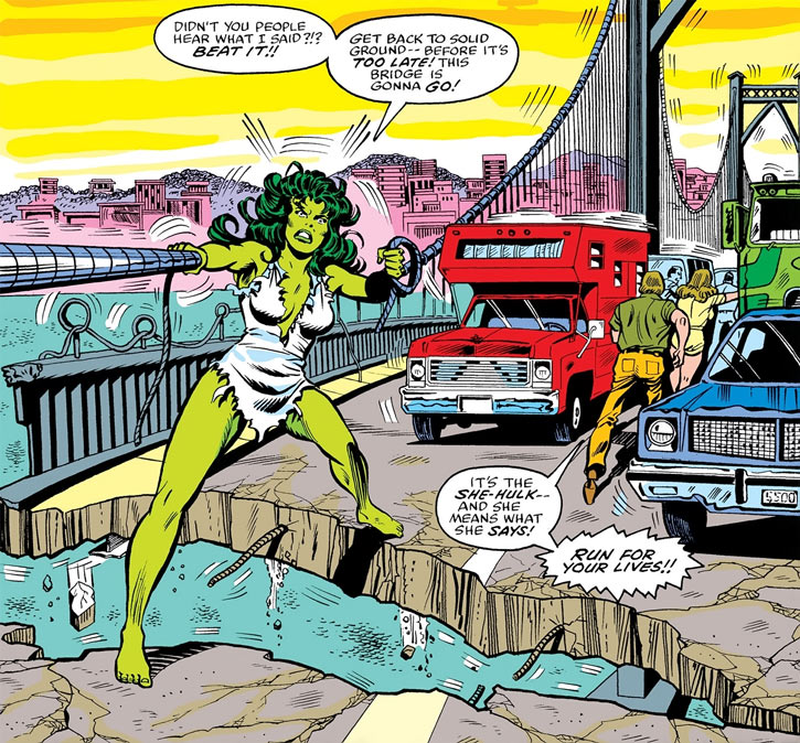 She-Hulk (Marvel Comics) (Early) holding the cables of a suspension bridge