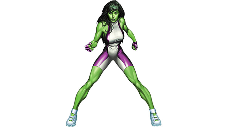 She Hulk with the white and violet costume, over a white background