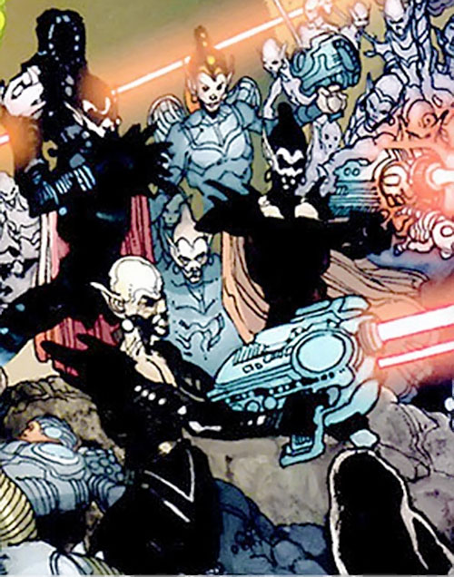 Sheeda troopers shooting (7 Soldiers) (DC Comics)
