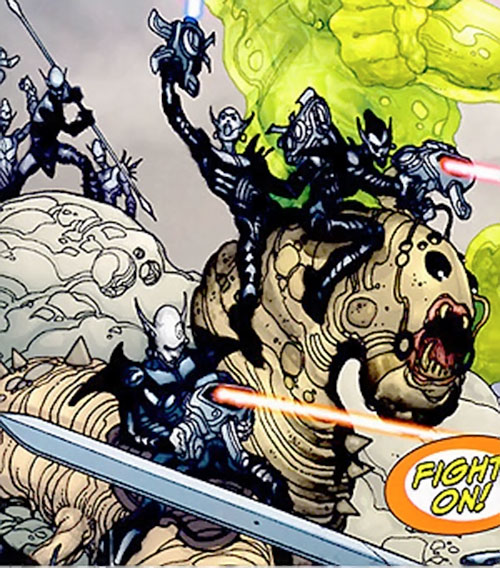 Sheeda soldiers riding a giant worm (7 Soldiers) (DC Comics)