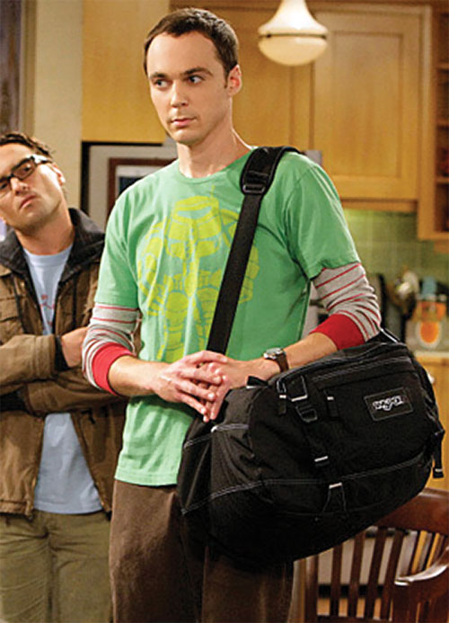 Sheldon Cooper (Jim Parson in Big Bang Theory) with a travel bag