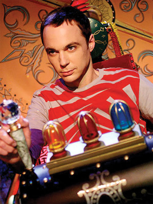 Sheldon Cooper (Jim Parson in Big Bang Theory) with a slot machine