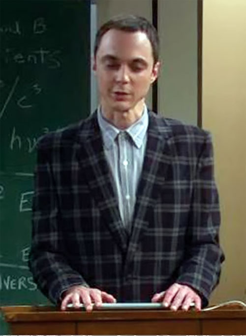 Sheldon Cooper (Jim Parson in Big Bang Theory) lecturing in an ugly vest