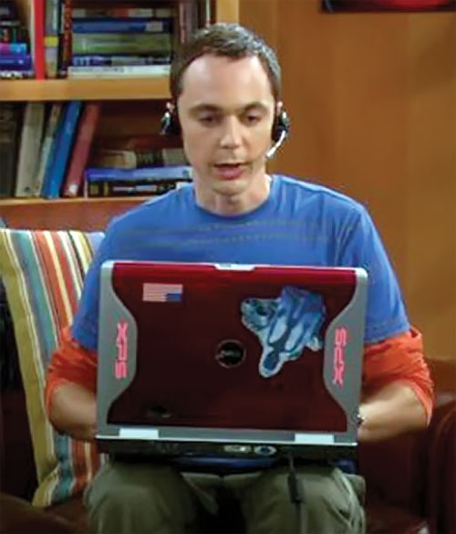 Sheldon Cooper (Jim Parson in Big Bang Theory) playing on his laptop