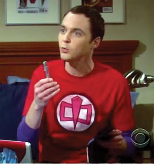 Sheldon Cooper (Jim Parson in Big Bang Theory) with a Greatest American Hero T-shirt