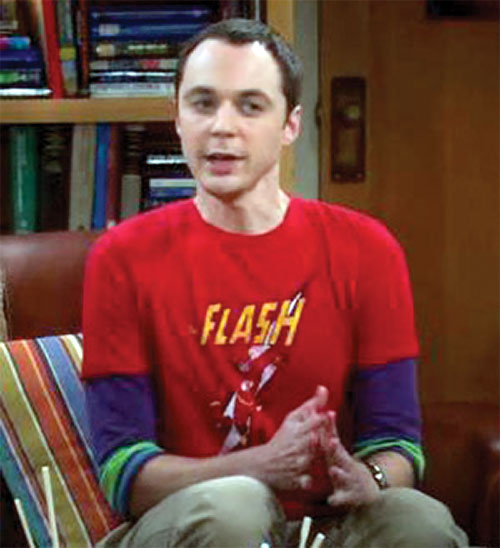 Sheldon Cooper (Jim Parson in Big Bang Theory) with a Flash T-Shirt