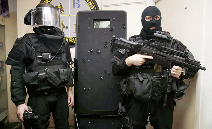 BRI officers in Paris with ballistic shield, after the Bataclan assault.
