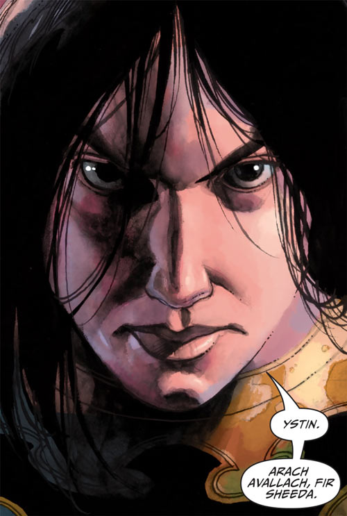 Shining Knight (Ystina of Camelot) (7 Soldiers) (DC Comics) determined face closeup