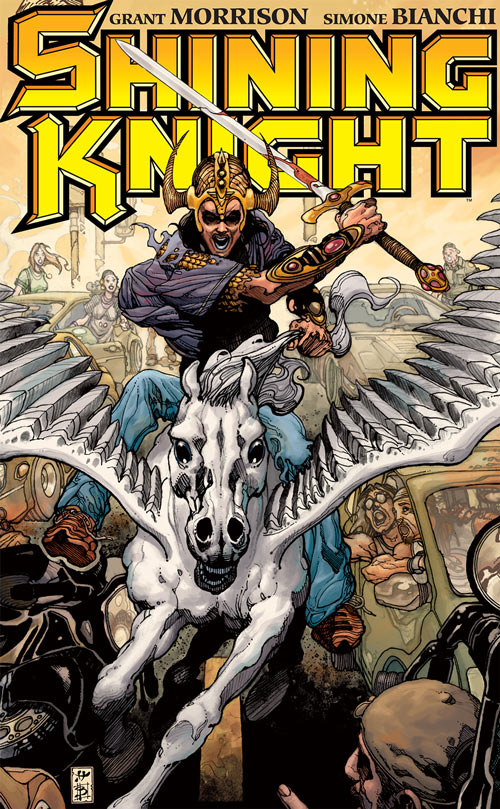 Shining Knight (Ystina of Camelot) (7 Soldiers) (DC Comics) riding her winged horse Vanguard