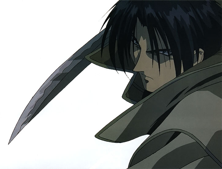 Shinomori Aoshi potrait over a white background