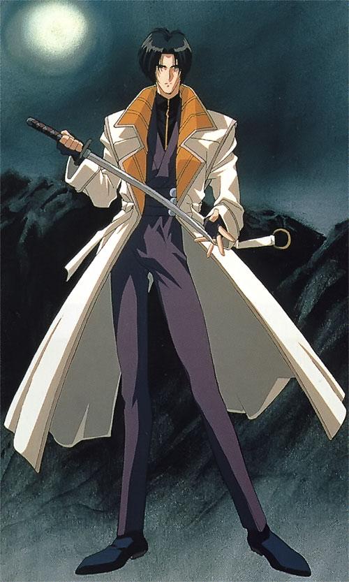 Shinomori Aoshi (Rurouni Kenshin) under the moon