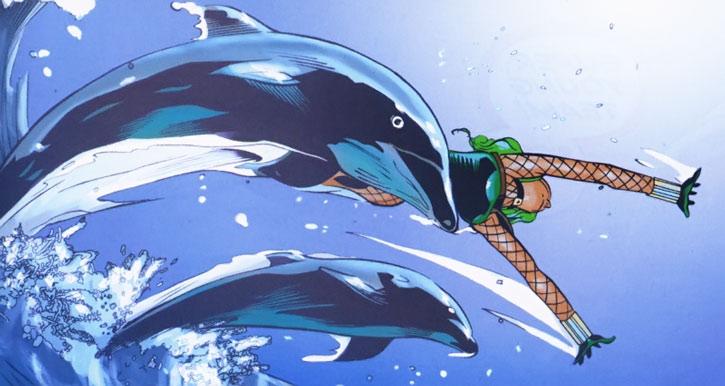 Shiny Happy Aquazon swimming with dolphins