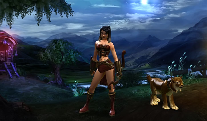 Vanquisher with minimal clothing, bow and lynx pet