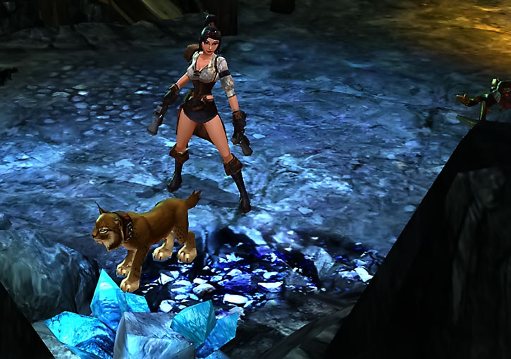 Vanquisher in a glowing cave with a lynx pet