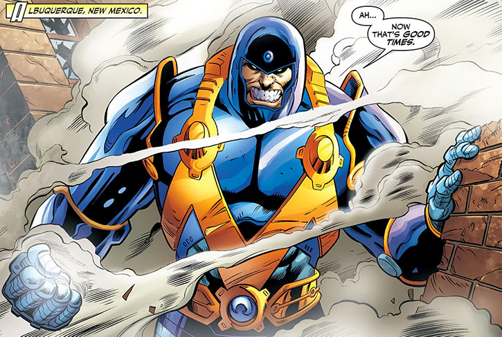 Shockwave (Clarence Schiffel) in his blue and orange armor