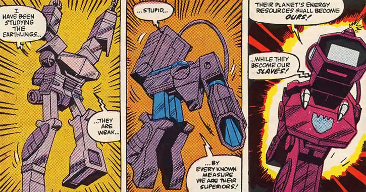 Shockwave of the Transformers (Marvel Comics G1 version) transforming into a gun