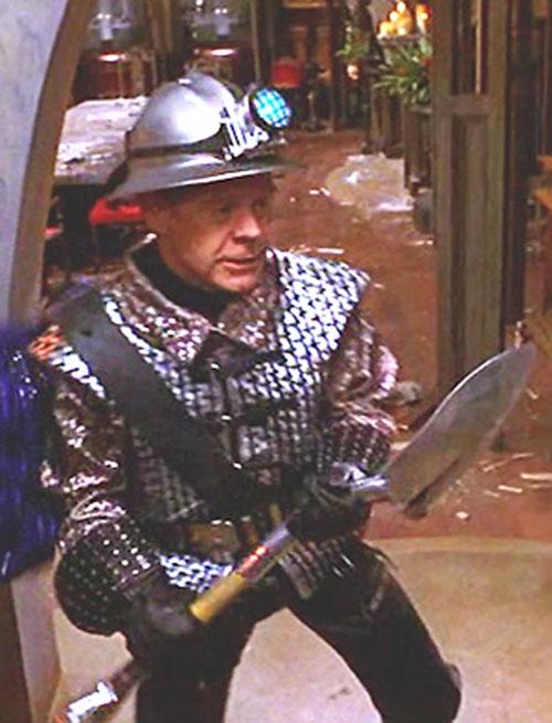 Shoveler (William Macy in Mystery Men) ready for action