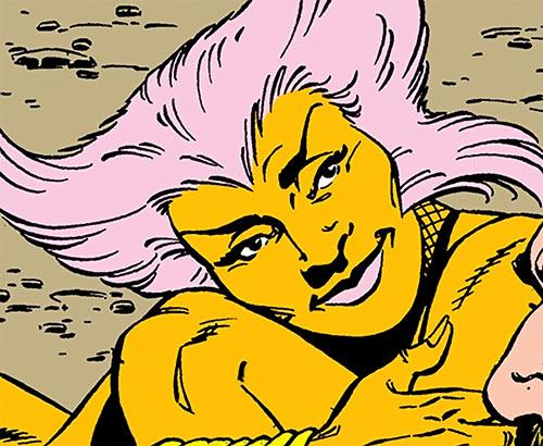 Shrike of the Cadre and Suicide Squad (DC Comics) face closeup