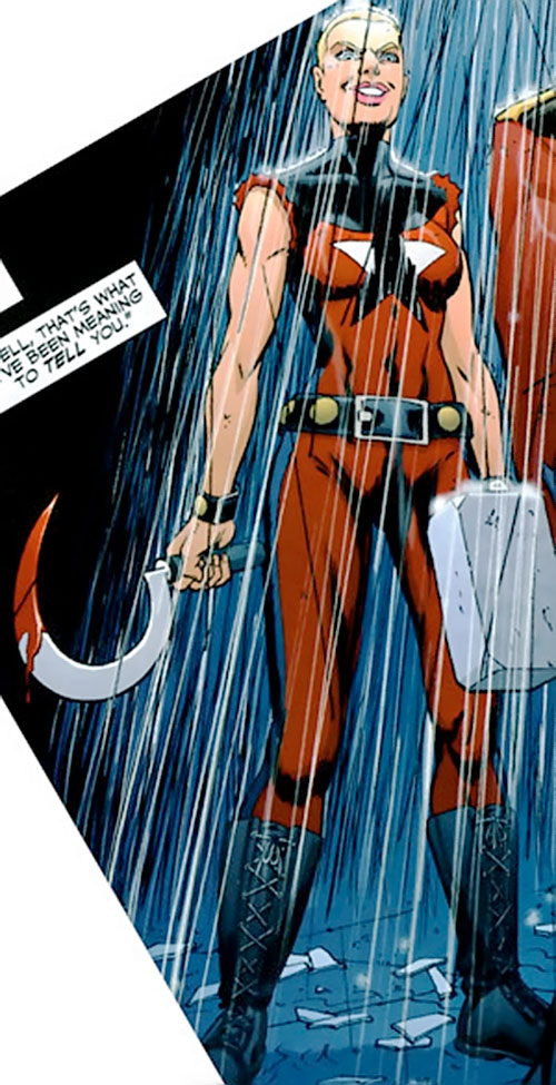 Sickle of the People's Heroes (DC Comics) with a bloody sickle