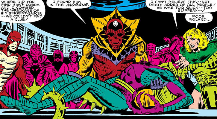 Sidewinder of the Serpent Society (Marvel Comics) with the corpse of Death Adder
