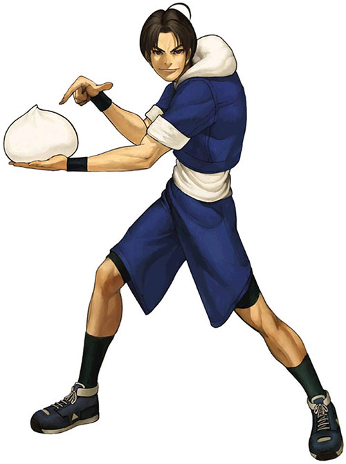 Sie Kensou (King of Fighters) with a giant Chinese meat bun