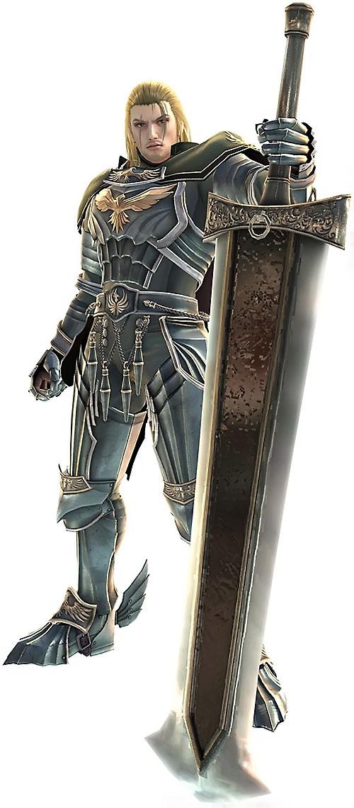 Siegfried Schtauffen (Soul Calibur) behind a huge sword