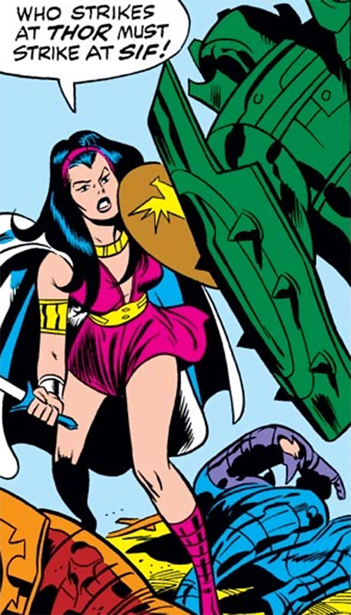 Sif (Thor ally) (Marvel Comics) in a magenta dress