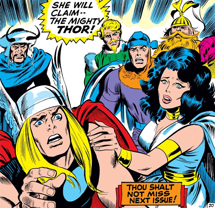 Sif in white, with Thor, Balder and the Warriors Three