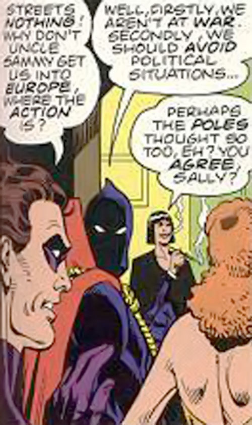Silhouette of the Minutemen (Alan Moore's Watchmen comic) during the reunion