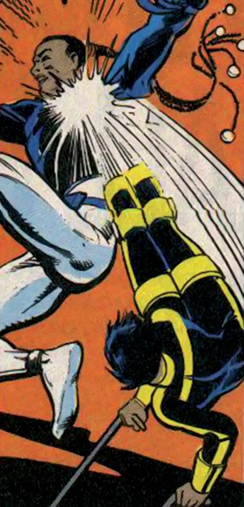 Silhouette of the Classic New Warriors (Marvel Comics) kicks Midnight's Fire