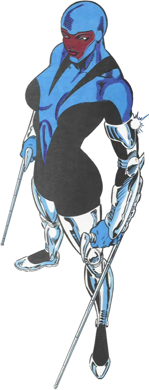Silhouette of the Classic New Warriors (Marvel Comics) black and blue costume