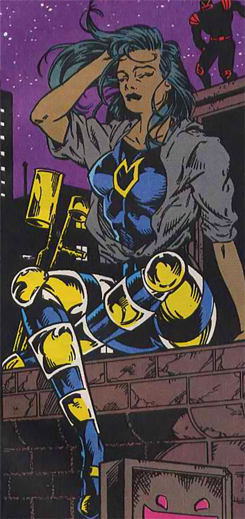 Silhouette of the Classic New Warriors (Marvel Comics) sitting on a rooftop at night