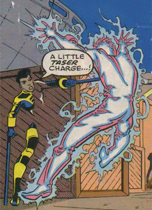 Silhouette of the Classic New Warriors (Marvel Comics) using her crutch taser