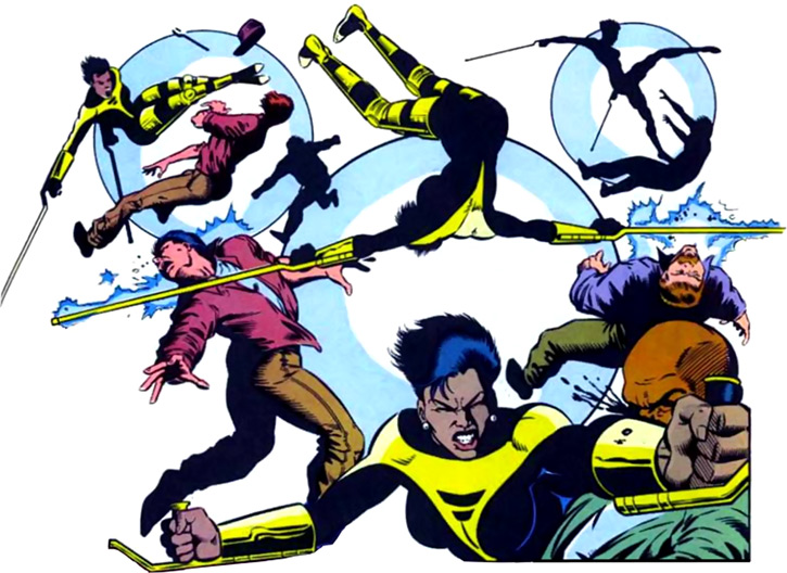 Silhouette of the Classic New Warriors (Marvel Comics) fighting thugs
