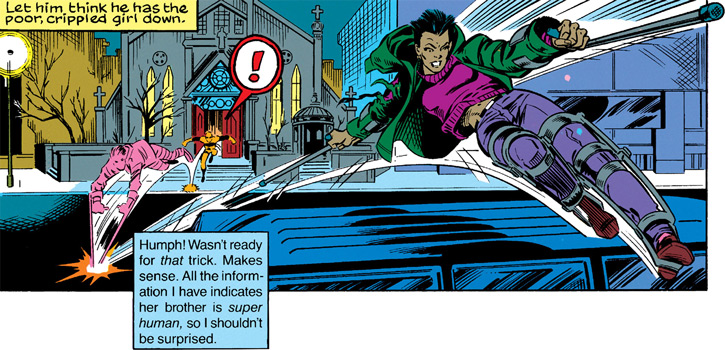 Silhouette of the Classic New Warriors (Marvel Comics) leaps over a street