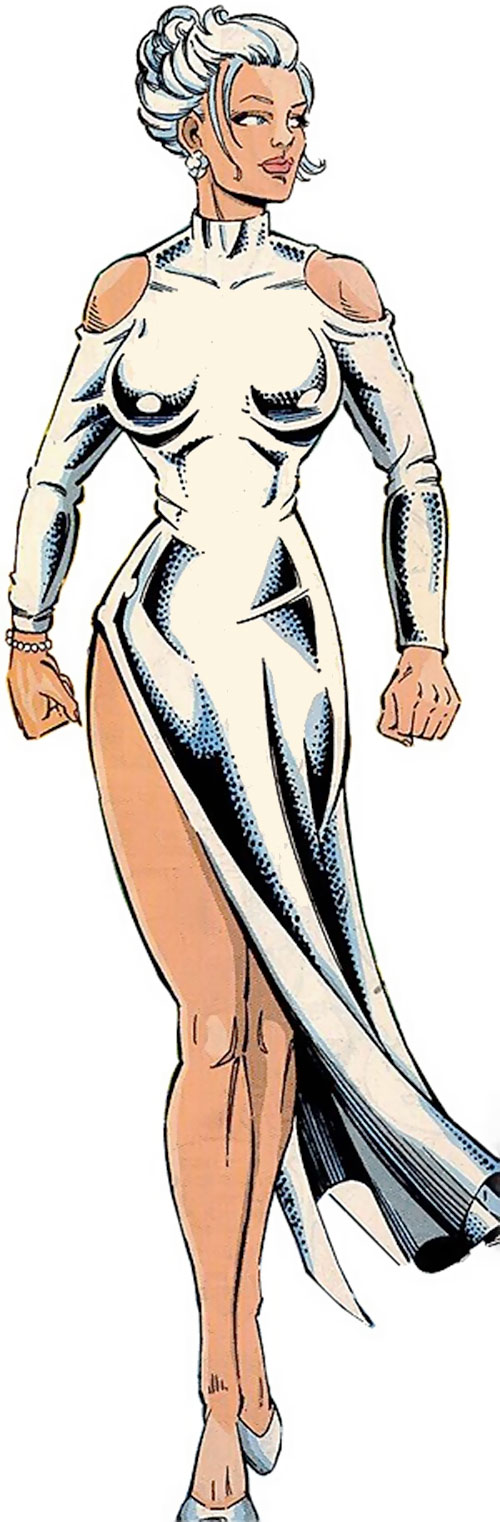 Silver Sable in a silver lame dress