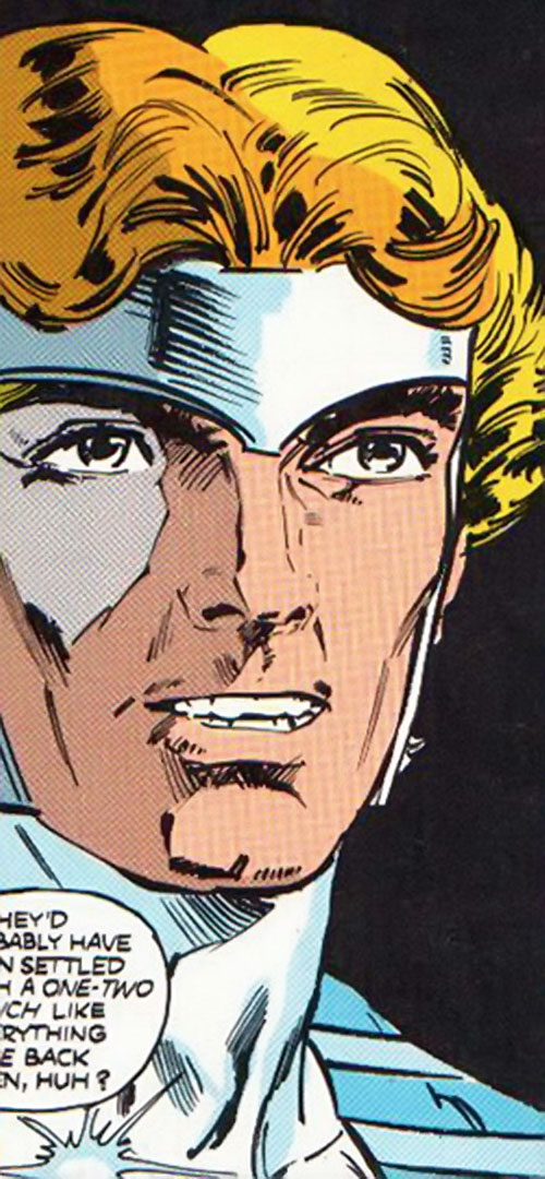 Silver Scarab of Infinity, Inc. (Hector Hall) (DC Comics) face closeup