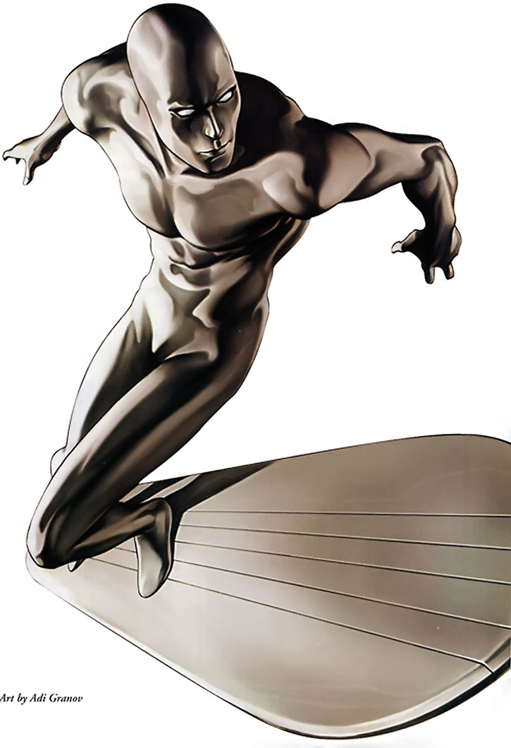 The Silver Surfer by Adi Granov, on a white background