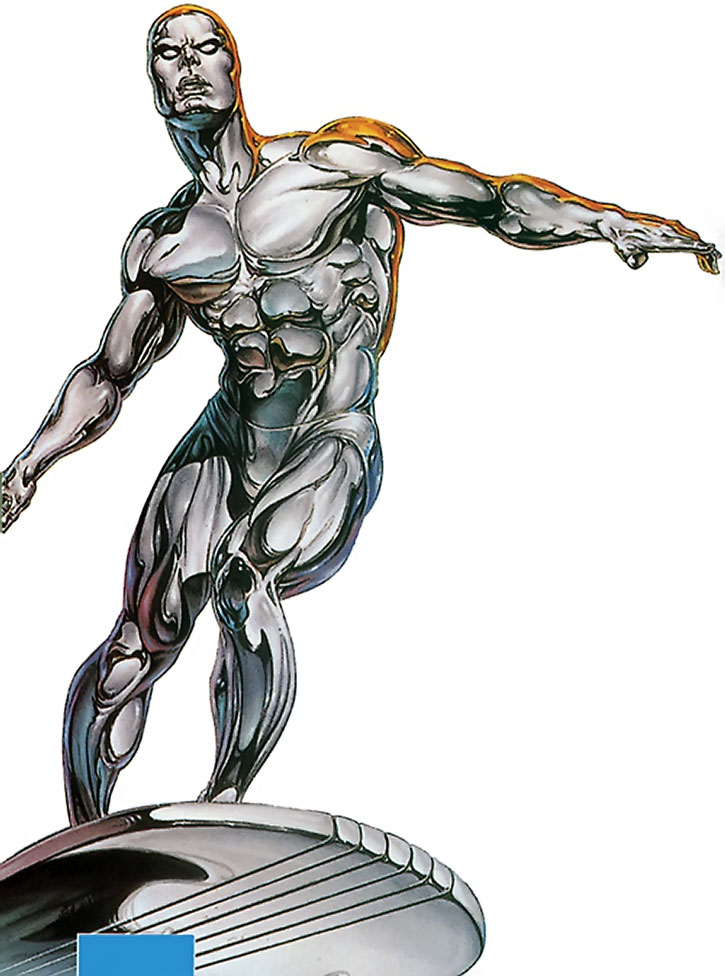 The Silver Surfer flies overhead on a white background