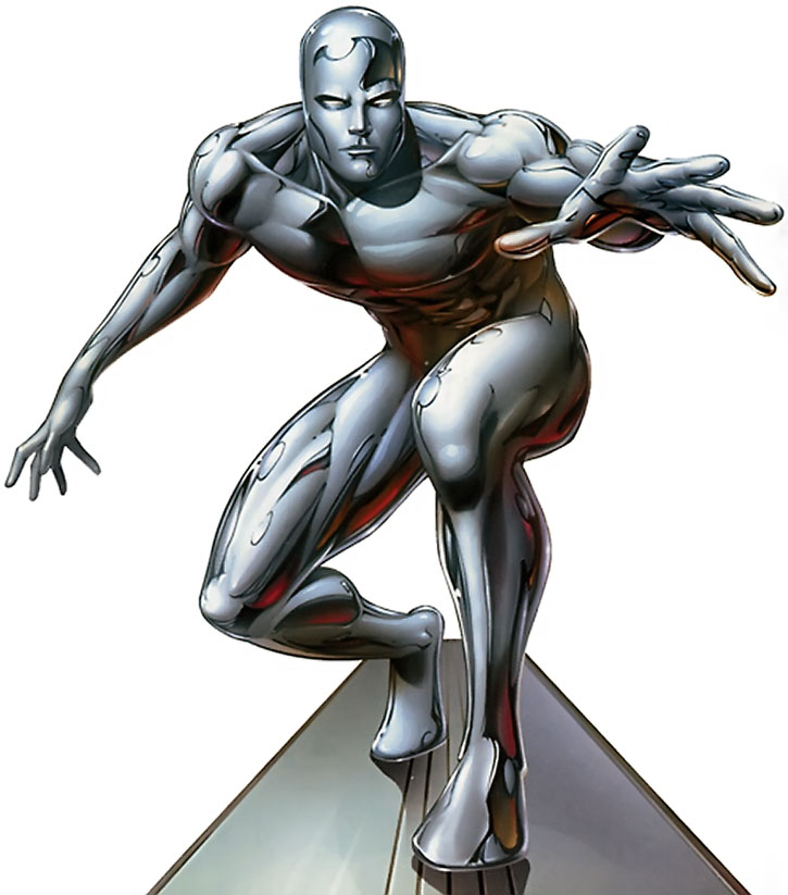 The Silver Surfer on a white background