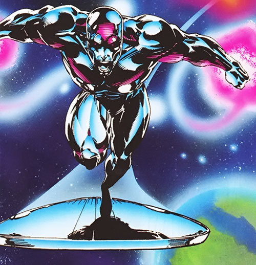 Silver Surfer (Marvel Comics) near a terrestrial planet