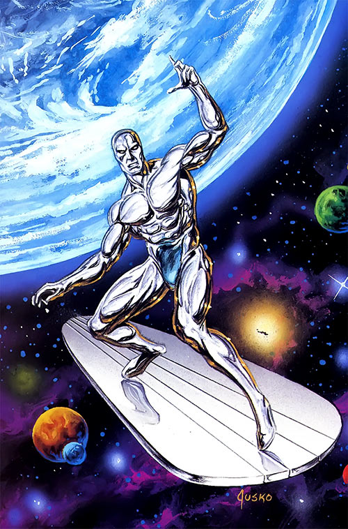 Silver Surfer (Marvel Comics) near a blue planet
