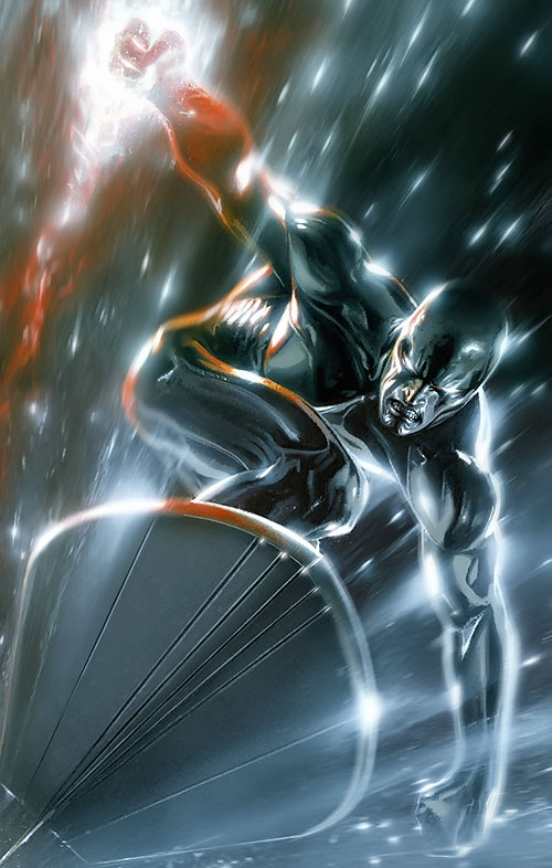 Silver Surfer (Marvel Comics) flying among space particles
