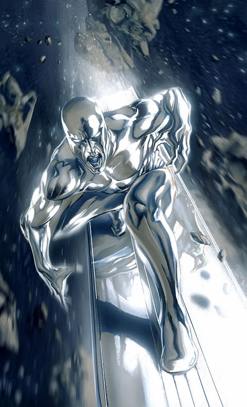 Silver Surfer (Marvel Comics) speeding among asteroids