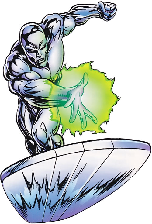 Silver Surfer (Marvel Comics) over a white background