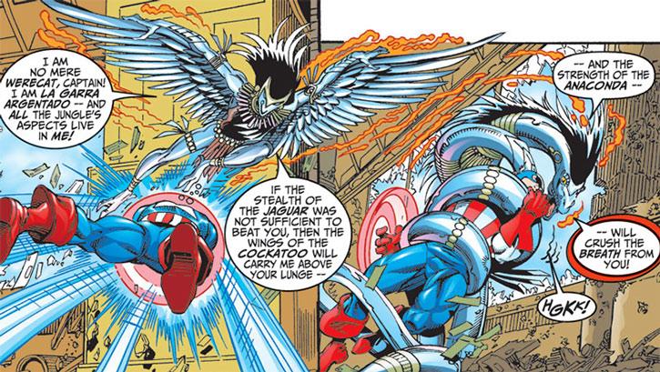 Silverclaw (Maria Santiago) grapples Captain America as a snake