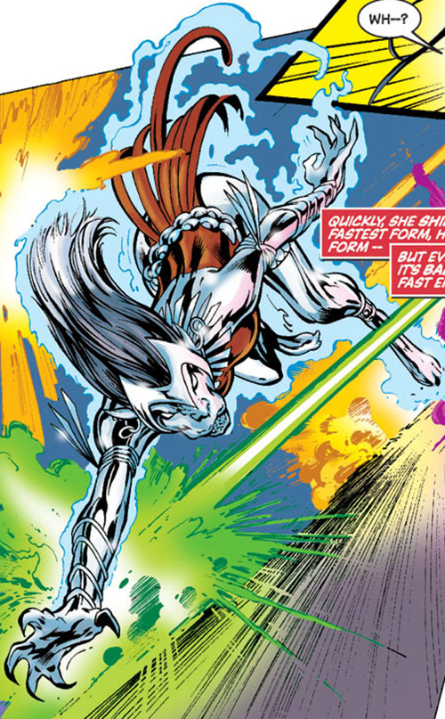 Silverclaw of the Avengers (Marvel Comics) dodging lasers