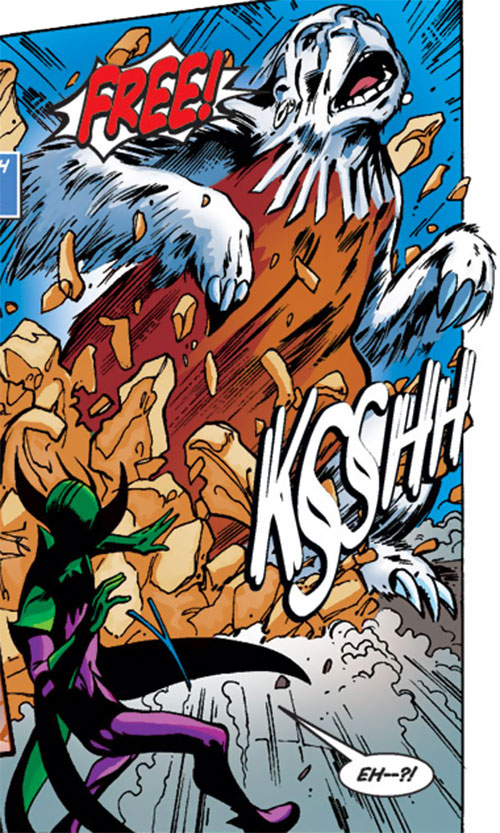 Silverclaw of the Avengers (Marvel Comics) bursting from the ground as a giant sloth