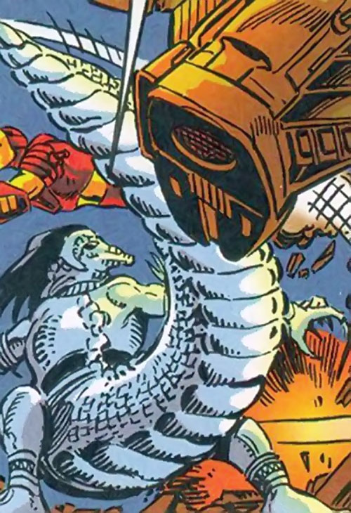 Silverclaw of the Avengers (Marvel Comics) striking with a crocodilian tail