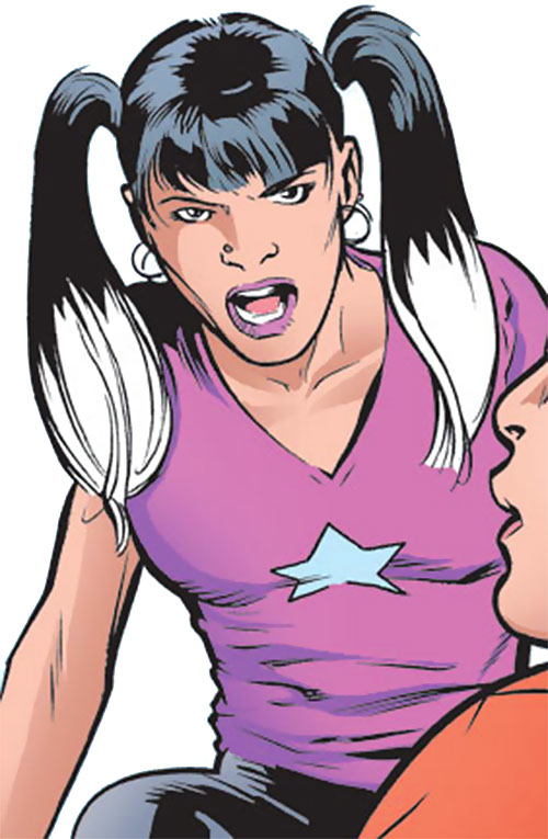 Silverclaw of the Avengers (Marvel Comics) in a pink T-shirt